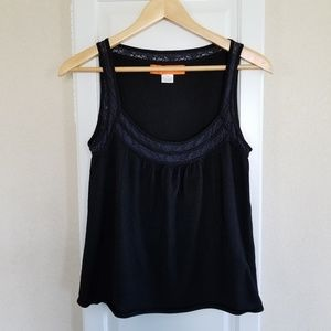 Cynthia Steffe Black & Blue Lace Detail Knit Tank